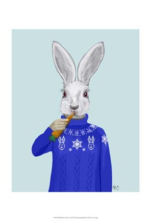 Framed Rabbit In Sweater Print