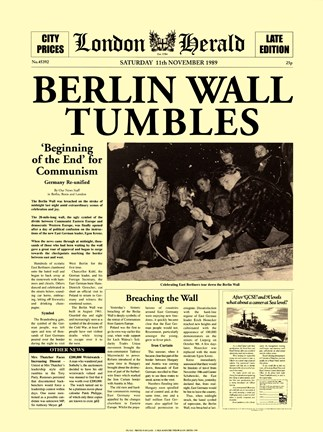 Framed Berlin Wall Tumbles Print