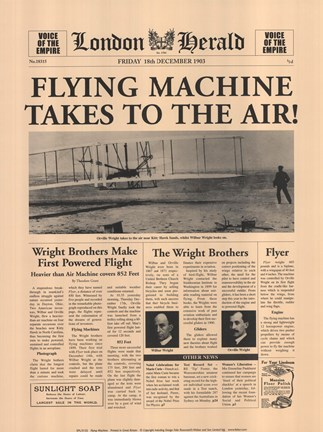 Framed Flying Machine Takes to the Air! Print
