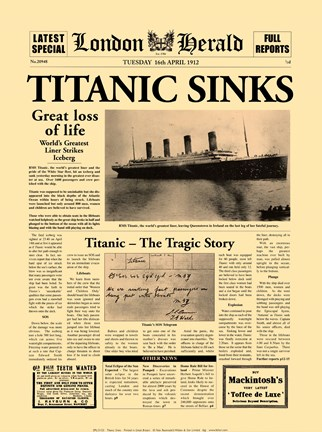 Framed Titanic Sinks Print