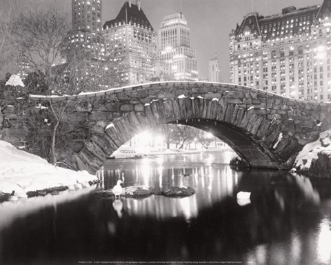 Framed Snowfall In Central Park Print
