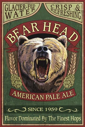 Framed Bear Head Pale Ale Print