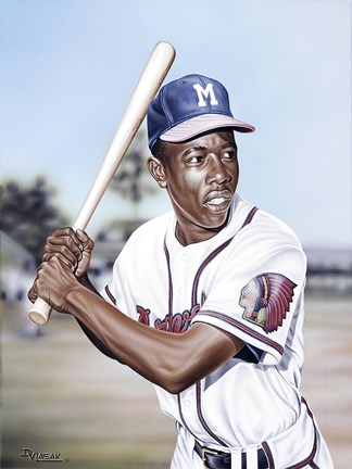 Framed Hank Aaron on Deck Print