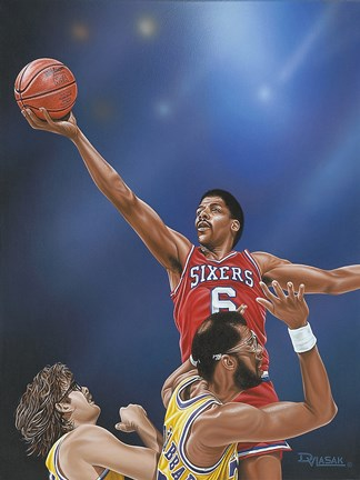 Framed Dr. J Going to the Rim Print