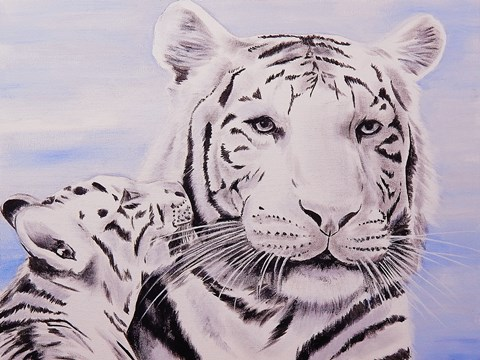 Framed White Tiger and Cub Print