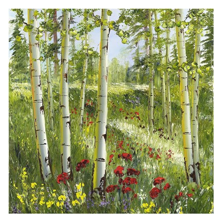 Framed Aspens with Red Poppies Print