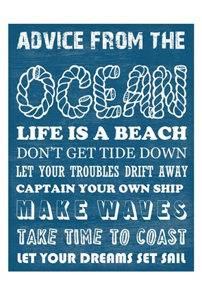 Framed Advice From The Ocean 2 Print