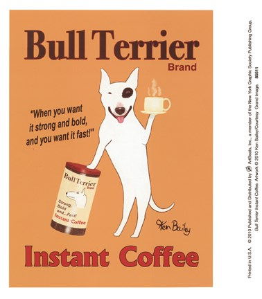 Framed Bull Terrier Instant Coffee Print