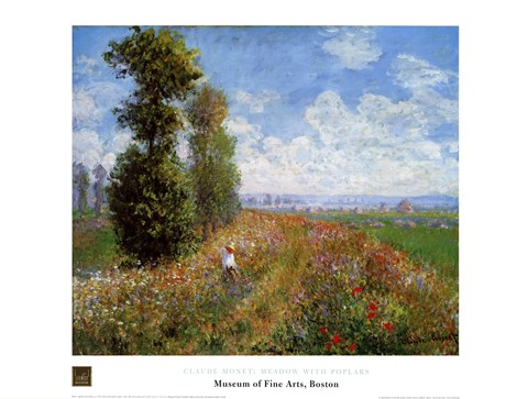 Framed Meadow with Poplars Print