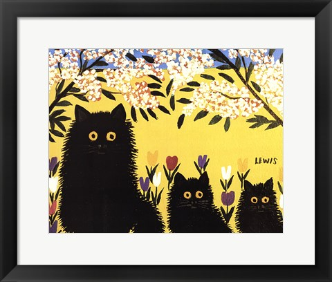 Framed Three Black Cats Print