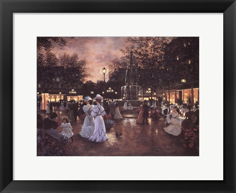 Framed Meeting at the Fountain Print