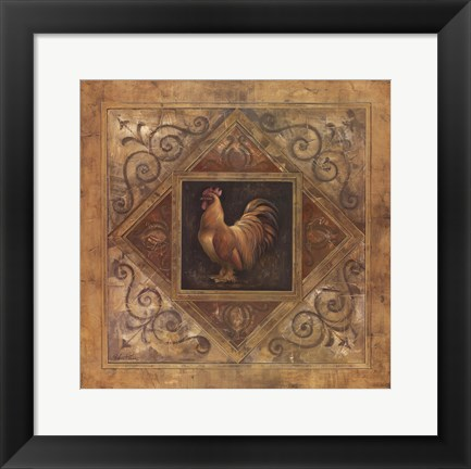 Framed Classic Rooster II Print