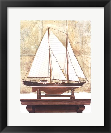 Framed Yacht and Antique Map I Print