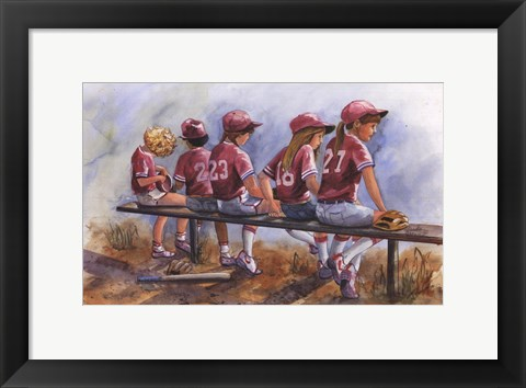 Framed Girls to Bat Print