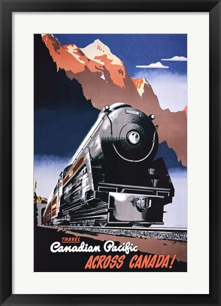 Framed Canadian Pacific Train 1930 Print