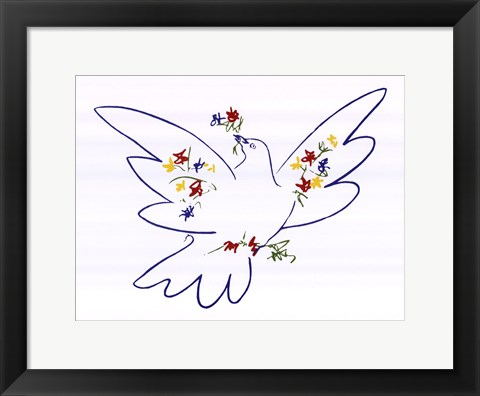 Framed Dove with Flowers Print