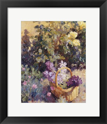 Framed Basket with Flowers Print