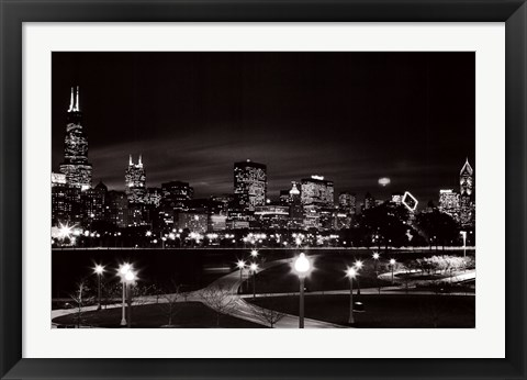 Framed Chicago at Night Print