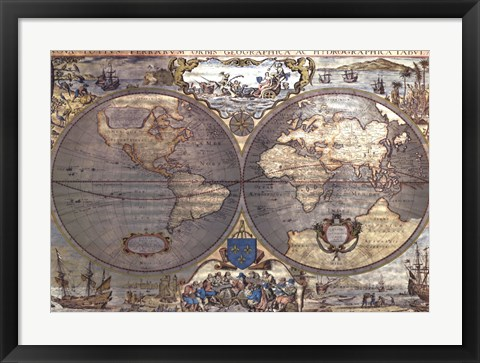 Framed Map of the World-Silver (w/Gold Foil) Print
