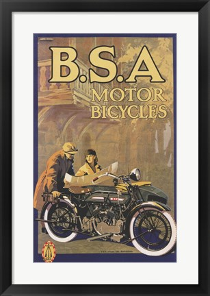Framed B S a Motorcycles Print