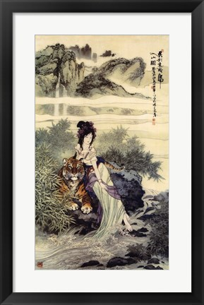 Framed Lady With Tiger Print