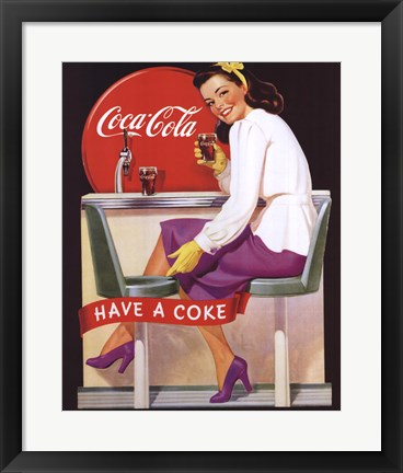 Framed Coca-Cola Lady in Purple Print