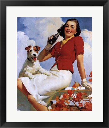 Framed Coca-Cola Lady with Dog Print