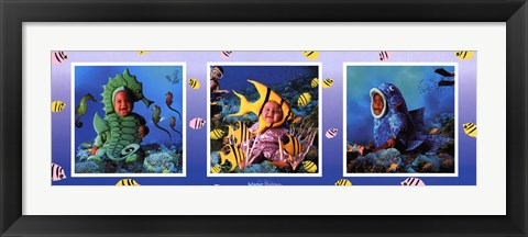 Framed Water Babies In The Sea Print