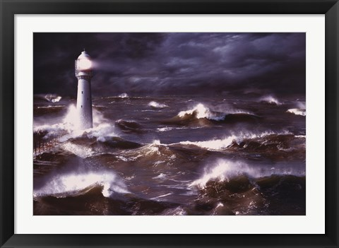 Framed Lighthouse And Waves, South Africa Print