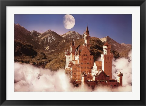 Framed Castle In The Mountains Print