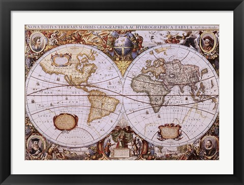 Framed Map of the World (antique style) Print