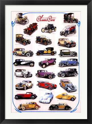 Framed Classic Cars Print
