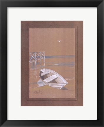 Framed White Dinghy Print