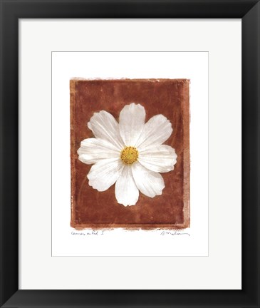 Framed Cosmos on Red I Print