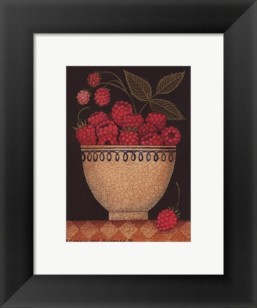 Framed Cup O' Raspberries Print