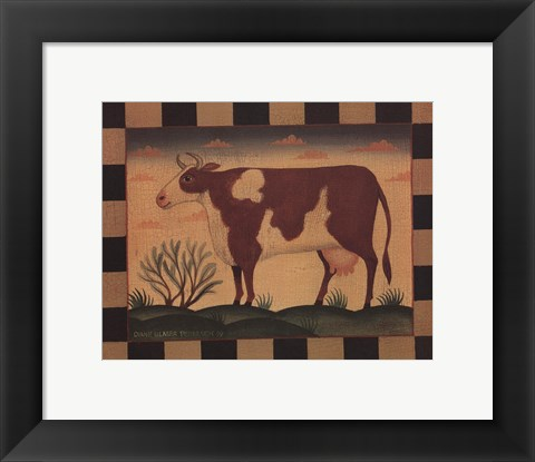 Framed Farm Cow Print