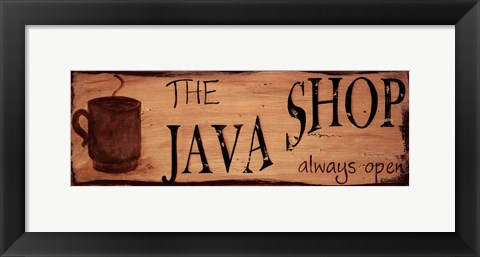 Framed Java Shop Print