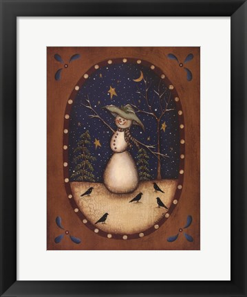 Framed Snowman with Crows Print