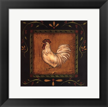 Framed Square Rooster Left Print