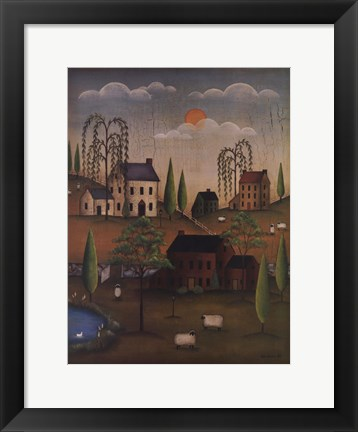 Framed Village with Sheep Print