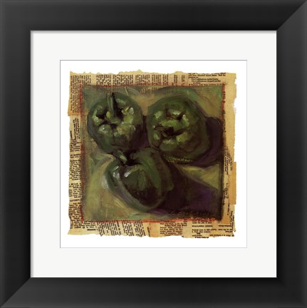 Framed Three Green Peppers Print