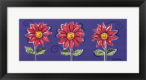 Framed 3 Pink Daisies Print