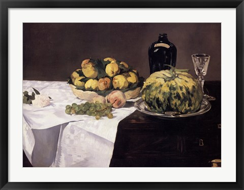 Framed Still Life with Melons and Peaches Print