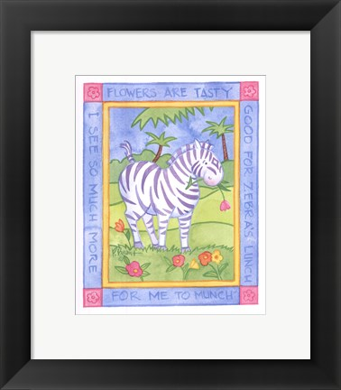 Framed Munching Zebra Print