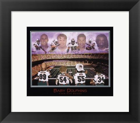 Framed Baby Dolphins - Williams, Seau, Thomas, & Taylor Print