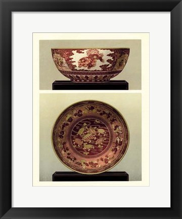 Framed Oriental Bowl and Plate I Print