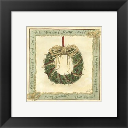Framed Raffia Wreath I Print