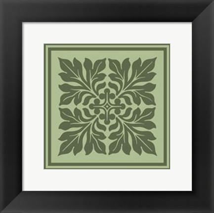 Framed Tonal Woodblock in Green II Print