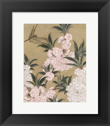 Framed Cherry Blossoms and Dragonfly Print