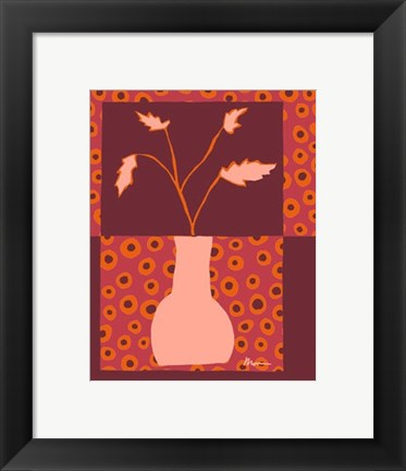 Framed Minimalist Flowers in Orange II Print